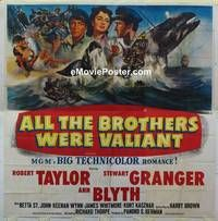 k021 ALL THE BROTHERS WERE VALIANT six-sheet movie poster '53 Robert Taylor
