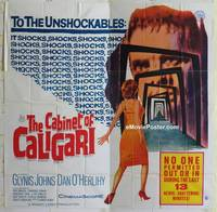 k002 CABINET OF CALIGARI six-sheet movie poster '62 Glynis Johns, horror!