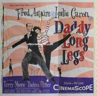 k036 DADDY LONG LEGS six-sheet movie poster '55 Fred Astaire, Caron