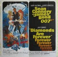 k004 DIAMONDS ARE FOREVER int'l six-sheet movie poster '71 Connery as James Bond!
