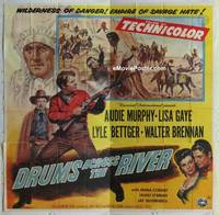 k044 DRUMS ACROSS THE RIVER six-sheet movie poster '54 Audie Murphy