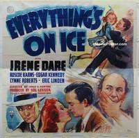 k045 EVERYTHING'S ON ICE six-sheet movie poster '39 Dare, ice skating!