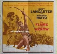 k049 FLAME & THE ARROW int'l six-sheet movie poster R71 Burt Lancaster, Mayo