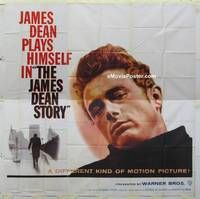k063 JAMES DEAN STORY six-sheet movie poster '57 Was he Rebel or Giant?