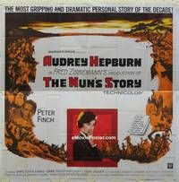 k078 NUN'S STORY six-sheet movie poster '59 religious Audrey Hepburn!