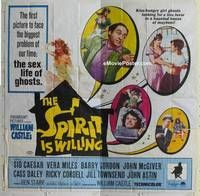 k015 SPIRIT IS WILLING six-sheet movie poster '67 sex life of ghosts!