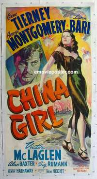 f052 CHINA GIRL linen three-sheet movie poster '42 Gene Tierney, Montgomery