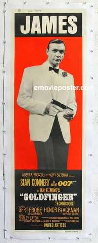 f007 GOLDFINGER linen door panel movie poster '64 Connery, James Bond