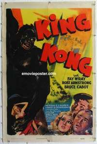 f005 KING KONG one-sheet movie poster R42 Fay Wray, Robert Armstrong