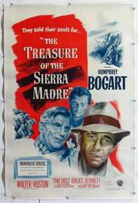 f534 TREASURE OF THE SIERRA MADRE linen one-sheet movie poster '48 Bogart