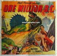 k431 ONE MILLION BC six-sheet movie poster '40 great dinosaur image!