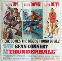 k001 THUNDERBALL six-sheet movie poster '65 Sean Connery as James Bond!
