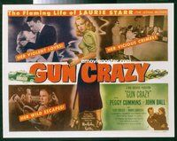 k052a GUN CRAZY half-sheet movie poster '50 Peggy Cummins, noir classic!