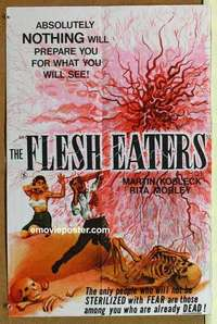 a005 FLESH EATERS British quad movie poster '64 cool spooky image!