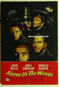 a008 ABOVE US THE WAVES English one-sheet movie poster '56 John Mills, WWII