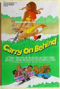 a019 CARRY ON BEHIND English 1sh 1975 art of sexy Carol Hawkins on bicycle & Elke Sommer in car!