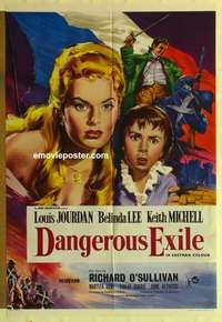 a023 DANGEROUS EXILE English one-sheet movie poster '58 Louis Jourdan, Lee