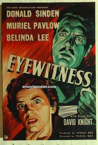 a028 EYEWITNESS English one-sheet movie poster '56 cool strangle image!