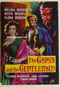 a036 GYPSY & THE GENTLEMAN English one-sheet movie poster '58 Mercouri