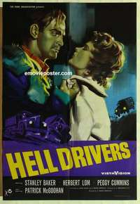 a038 HELL DRIVERS English one-sheet movie poster '57 Baker, Peggy Cummins