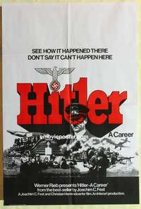a039 HITLER A CAREER English one-sheet movie poster '77 WWII biography!
