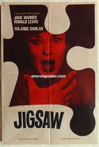 a045 JIGSAW English one-sheet movie poster '62 Val Guest, Jack Warner