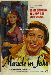 a055 MIRACLE IN SOHO English one-sheet movie poster '57 sexy Belinda Lee!
