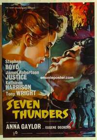 a062 SEVEN THUNDERS English one-sheet movie poster '57 Boyd, Harrison