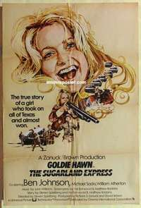 a065 SUGARLAND EXPRESS English one-sheet movie poster '74 Spielberg, Hawn