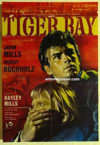 a069 TIGER BAY English one-sheet movie poster '60 introducing Hayley Mills!