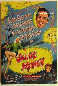 a075 VALUE FOR MONEY English one-sheet movie poster '57 sexy Diana Dors!