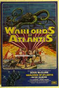 a076 WARLORDS OF ATLANTIS English one-sheet movie poster '78 Doug McClure