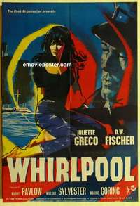 a077 WHIRLPOOL English one-sheet movie poster '59 sexy Juliette Greco!