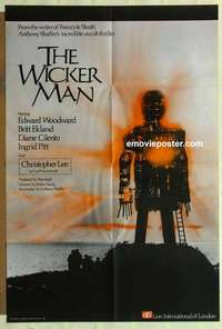 a079 WICKER MAN English one-sheet movie poster '74 Christopher Lee, Ekland