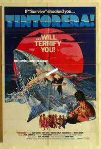 a070 TINTORERA English one-sheet movie poster '77 horror, tiger sharks!