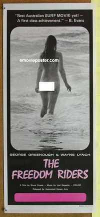 f070 FREEDOM RIDERS Australian daybill movie poster '72 super sexy surfer!