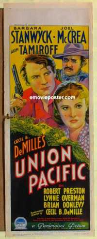 f072 UNION PACIFIC long Australian daybill movie poster '39 Stanwyck, McCrea