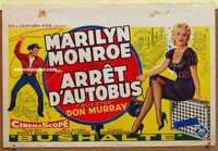 f013 BUS STOP Belgian '57 cowboy Don Murray with lasso & full-length sexy Marilyn Monroe!