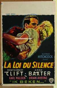 f036 I CONFESS Belgian movie poster '53 Alfred Hitchcock, Monty Clift