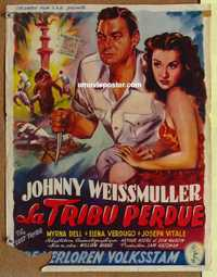 f044 LOST TRIBE Belgian movie poster '49 Johnny Weissmuller