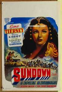 f057 SUNDOWN Belgian R50s best close up of super sexy Gene Tierney, George Sanders, Bruce Cabot