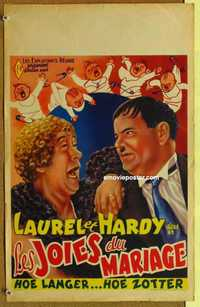 f064 TWICE TWO Belgian movie poster R50s Laurel & Hardy, Hal Roach
