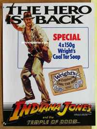 f075 INDIANA JONES & THE TEMPLE OF DOOM English 16x22 movie poster '84