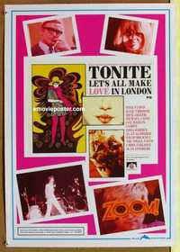 f081 TONITE LET'S ALL MAKE LOVE IN LONDON 20x28 commercial poster '90s Caine, London, psychedelic!