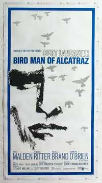 m061 BIRDMAN OF ALCATRAZ linen three-sheet movie poster '62 Burt Lancaster