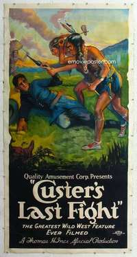 m059 CUSTER'S LAST FIGHT linen three-sheet movie poster R25 great artwork!