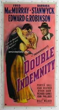 m039 DOUBLE INDEMNITY linen three-sheet movie poster '44 Billy Wilder, Stanwyck