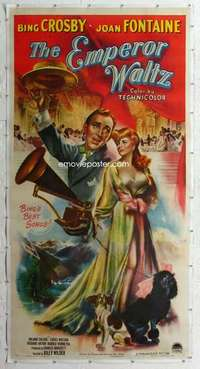 m042 EMPEROR WALTZ linen three-sheet movie poster '48 Billy Wilder, Crosby