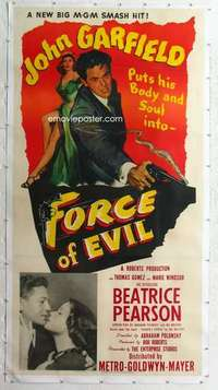 m062 FORCE OF EVIL linen three-sheet movie poster '48 John Garfield, Polonsky