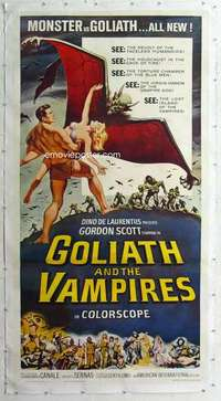 m063 GOLIATH & THE VAMPIRES linen three-sheet movie poster '64 Gordon Scott